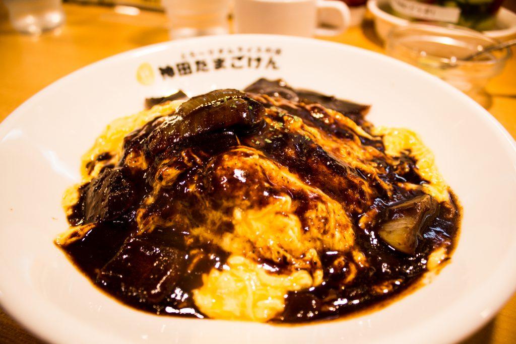 Hashed beef sauce omurice dish In Akihabara