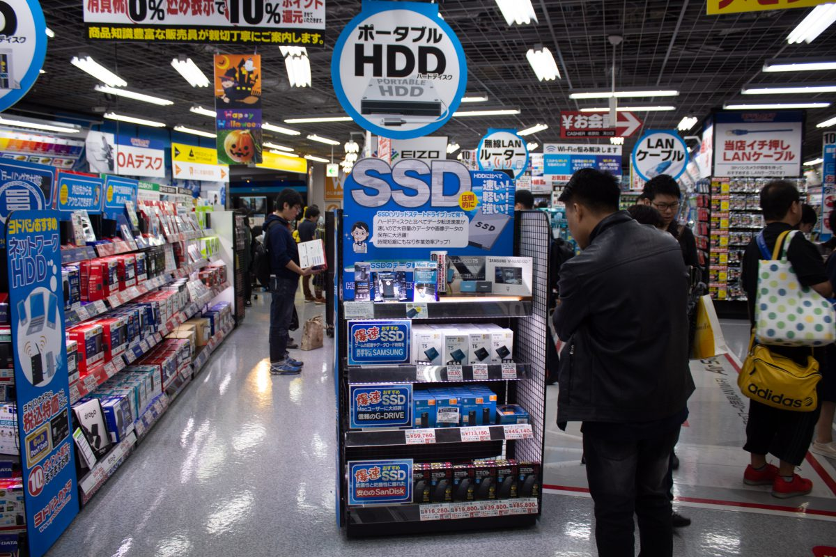 Computer parts in store In Yodobashi Camera