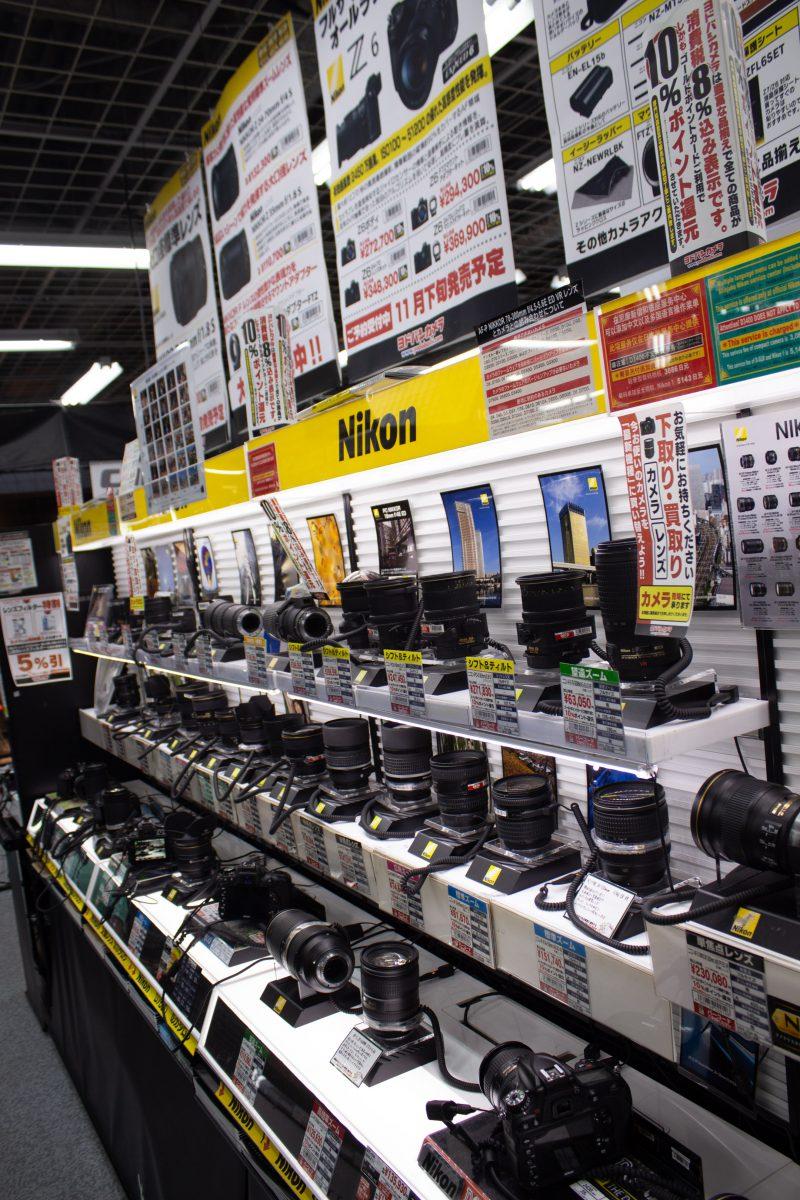 Camera lenses on display In Yodobashi Camera