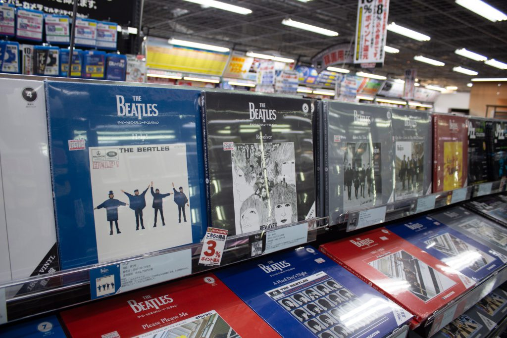 Beattles Album on display In Yodobashi Camera