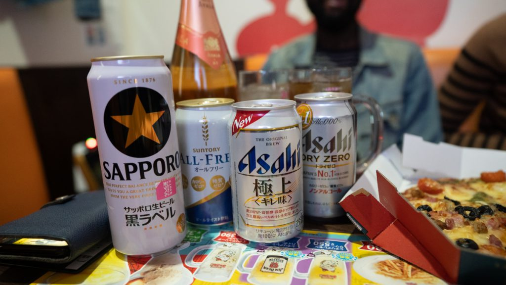 beer at the karaoke in japan