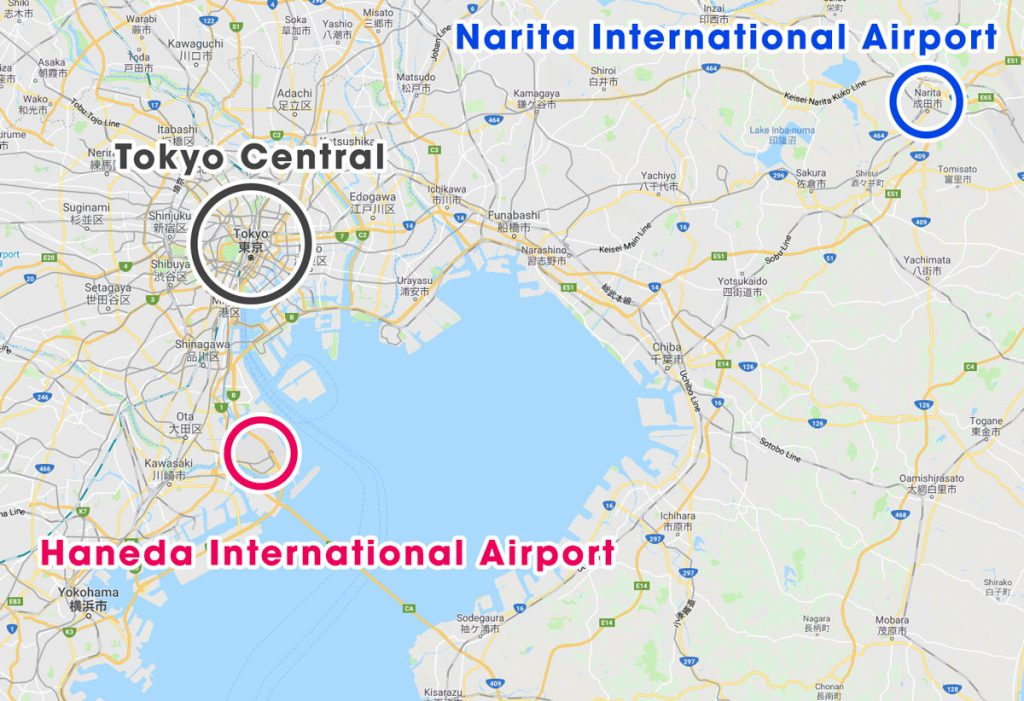 Locations of Narita and Haneda International Airport