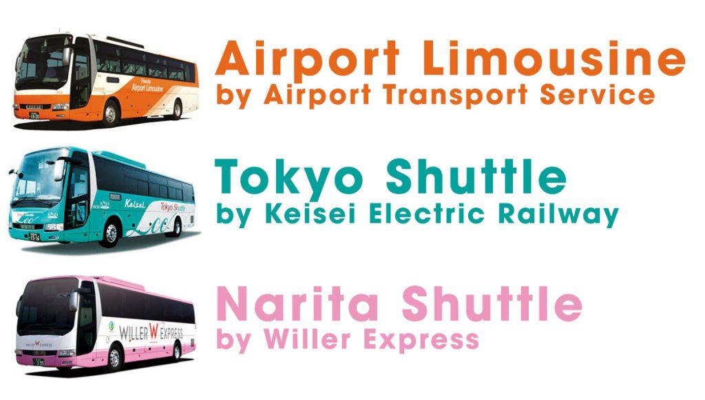 Many bus companies at Narita International Airport