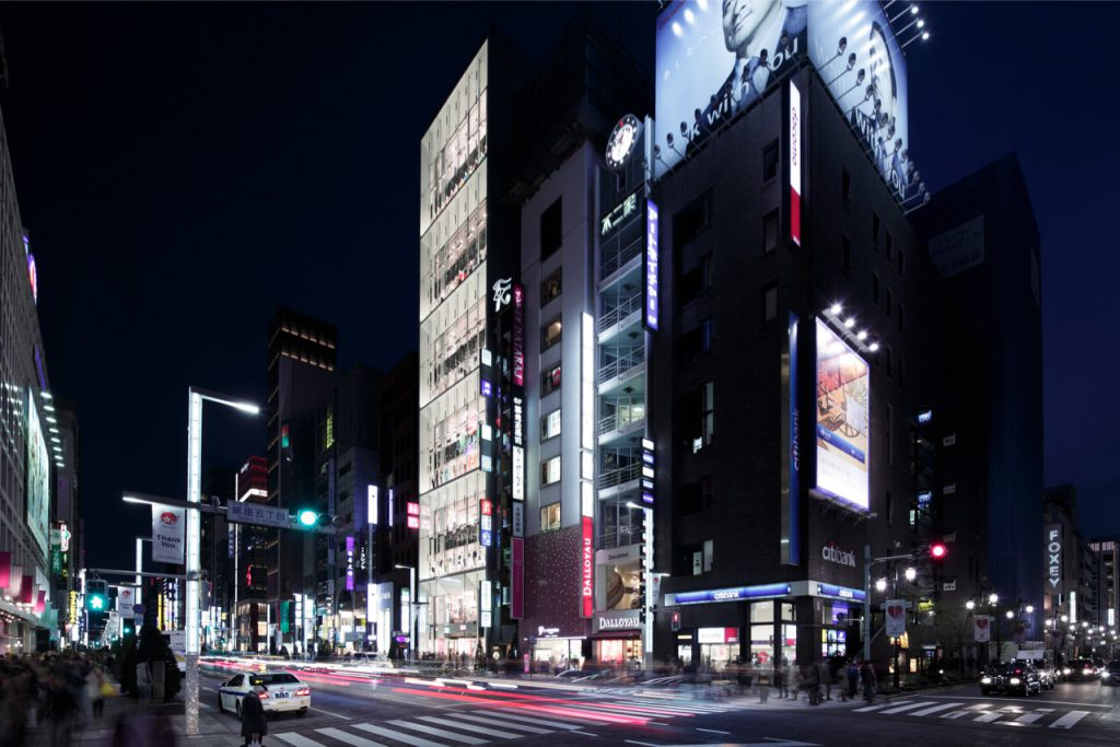 Uniqlo Ginza at night