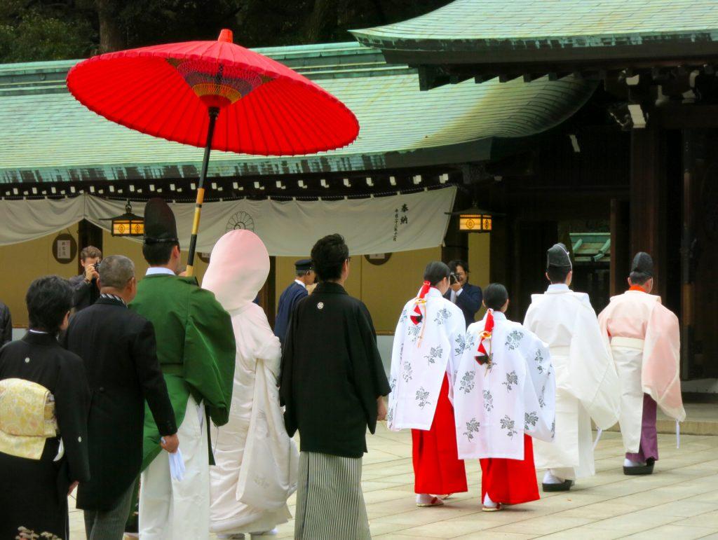 Wearing kimono for Japanese traditional wedding