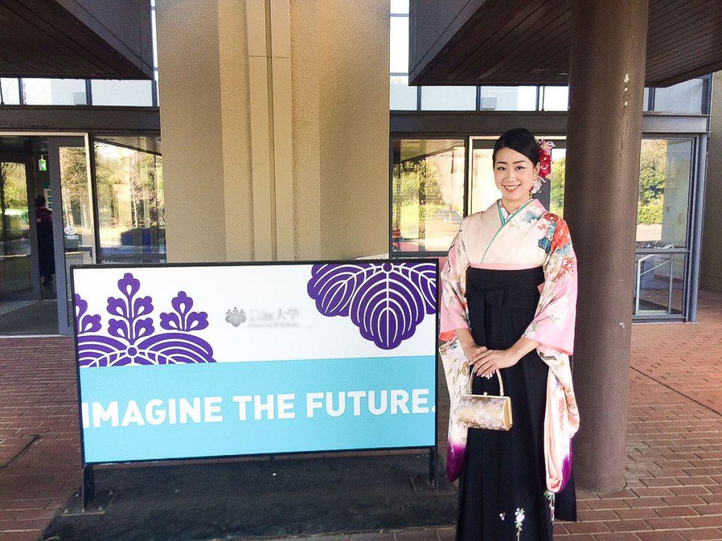 Kimono for graduation ceremony of university