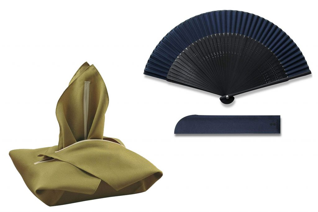 Accessories: bag and fan for male yukata