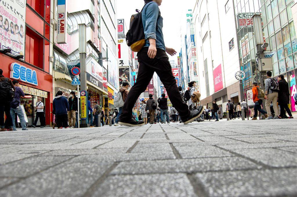 street of akihabara and someone walking