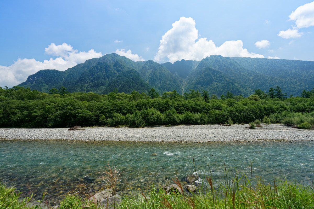Azusa river and Roppyakusan from the Kamikochi Onsen Hotel