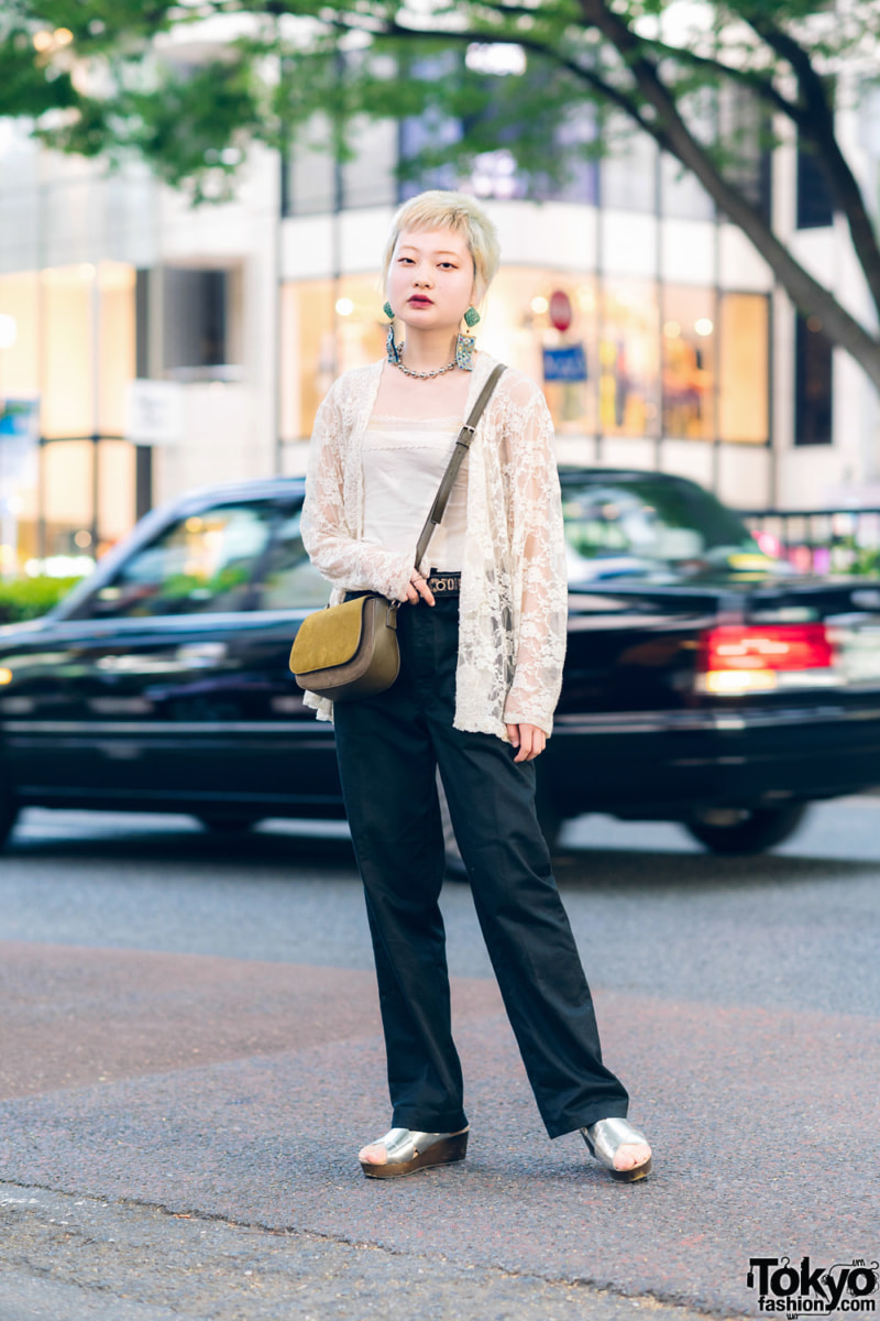 Japanese fashion sheer lace cardigan